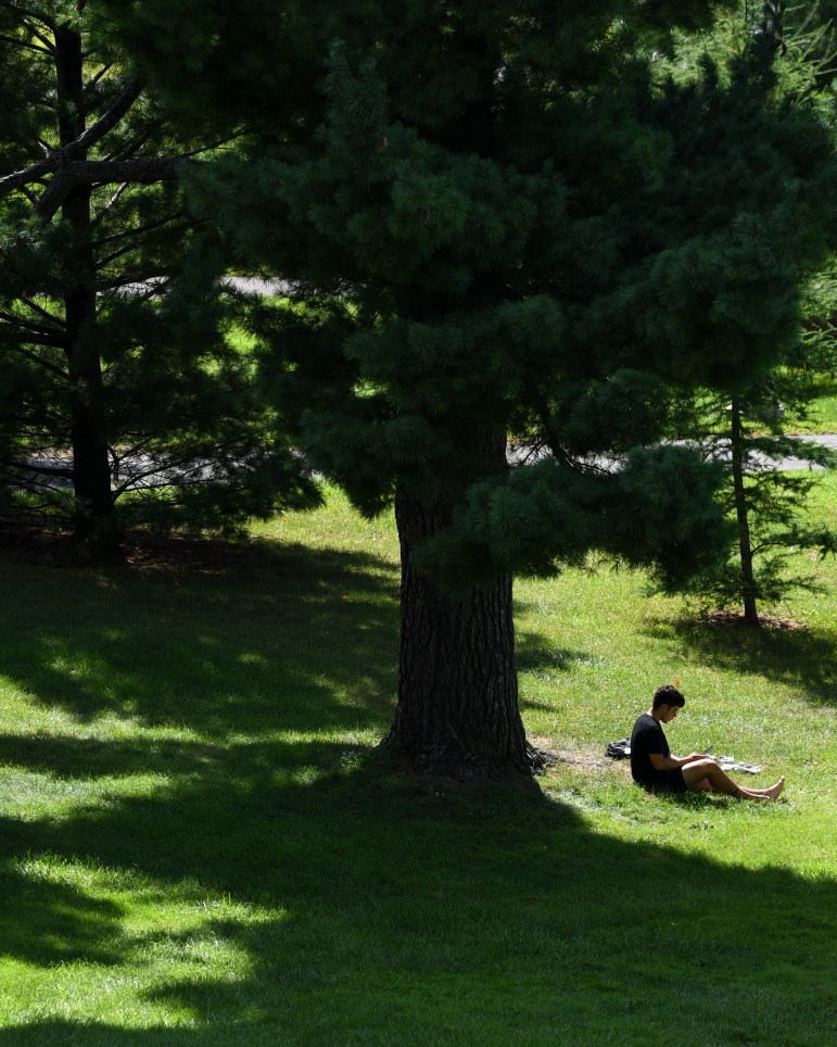 A student rests on Libe Slope after classes on Wednesday. (Boris Tsang/Sun Photography Editor)