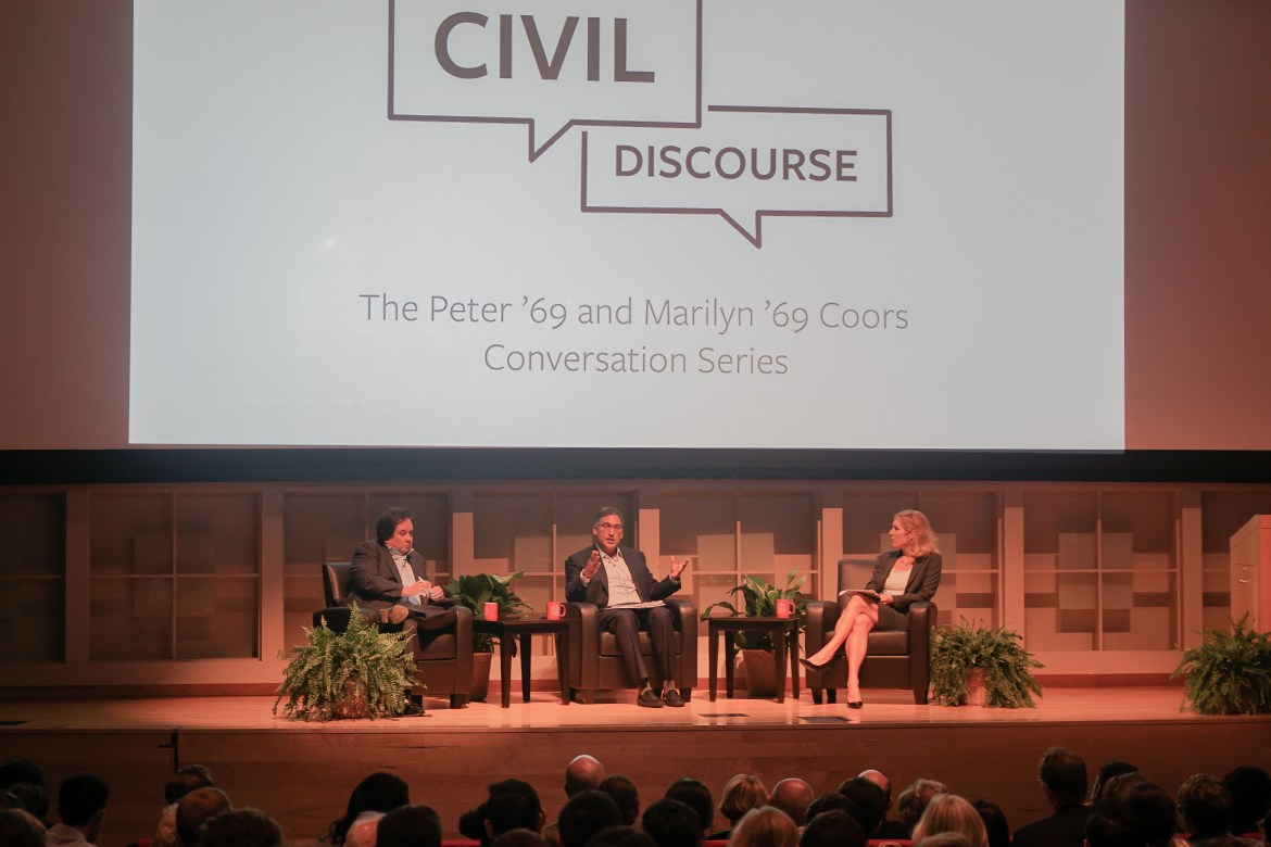 Neal Katyal, George T. Conway III and Professor Sarah Kreps engage in civil discourse on September 17.