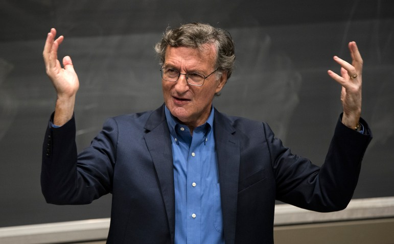 Steven Greenhouse, a former reporter for The New York Times, discussed the future of labor in the United States at Ives Hall on Monday. (Daniel Ra/Sun Staff Photographer)