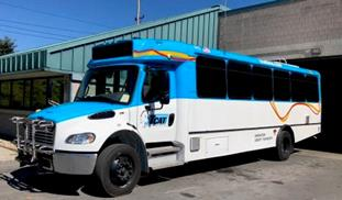 One of TCAT's three new 35-foot buses that were purchased to augment the already-existing fleet and help deal with issues of overcrowding.