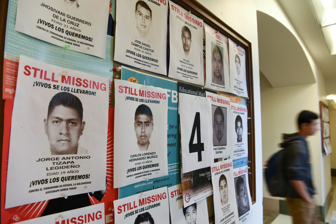 MEChA de Cornell displayed posters of the 43 Mexican students who disappeared five years ago — drawing attention to a still unsolved case that has drawn accusations of corruption and foul play.