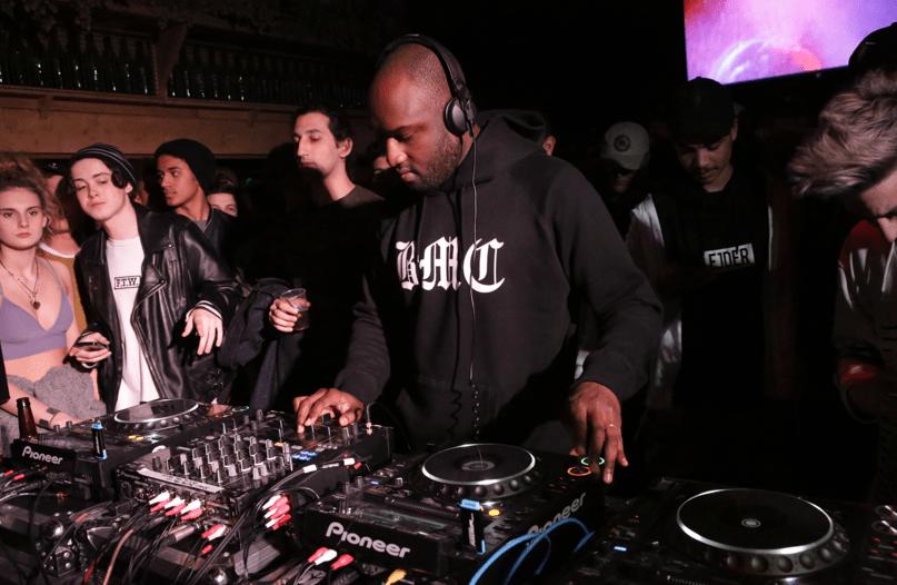 Virgil Abloh, now head of menswear at Louis Vuitton, DJs during a Boiler Room Set in London.