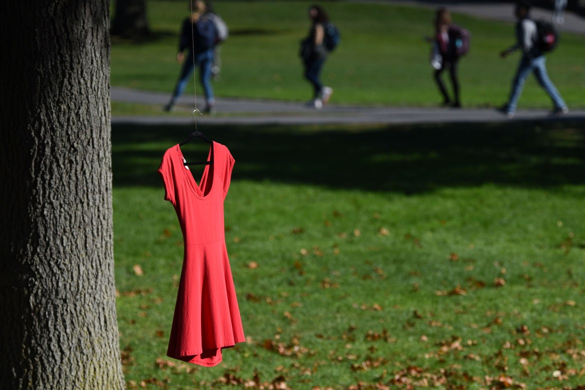 Red dresses were scattered across the Arts Quad on October 21st, 2019. The installation was part of the REDress Project, which hopes to raise awareness about missing or murdered Aboriginal women across Canada.