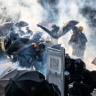 Protesters clash with police in Hong Kong on Tuesday, Oct. 1, 2019. Clashes reached their most intense point in four months of protests on the same day Beijing celebrated 70 years of Communist Party rule.