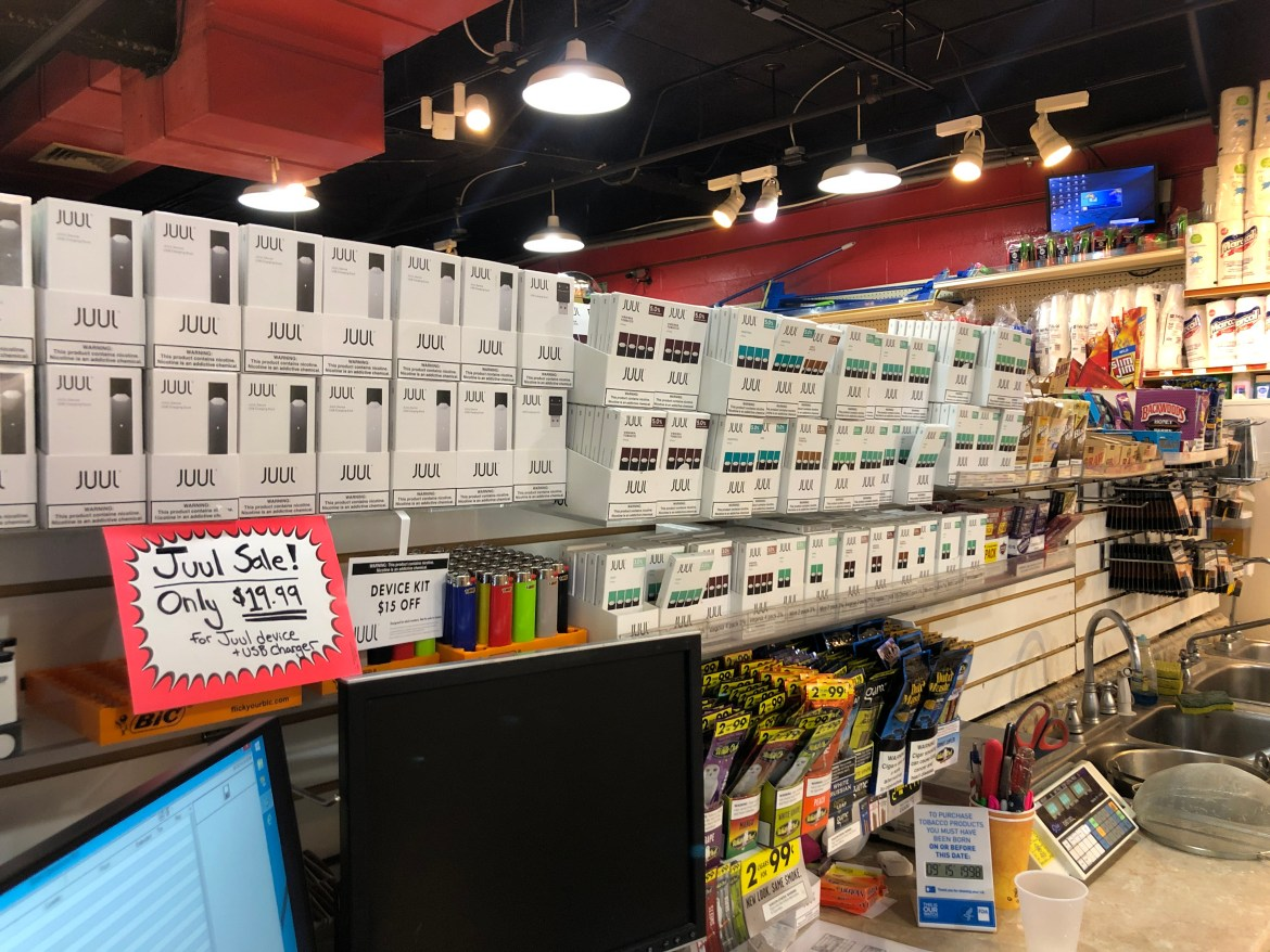 A selection of e-cigarette products on sale at Jason's Grocery and Deli in Collegetown.