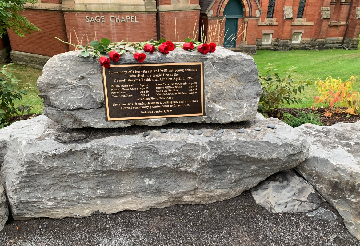 On April 5, 1967, a fire erupted in the Cornell Heights Residential Club, killing nine Cornellians. Fifty-two years after the horrific incident, the University dedicated a memorial to the victims at a ceremony outside of Sage Chapel on Thursday.