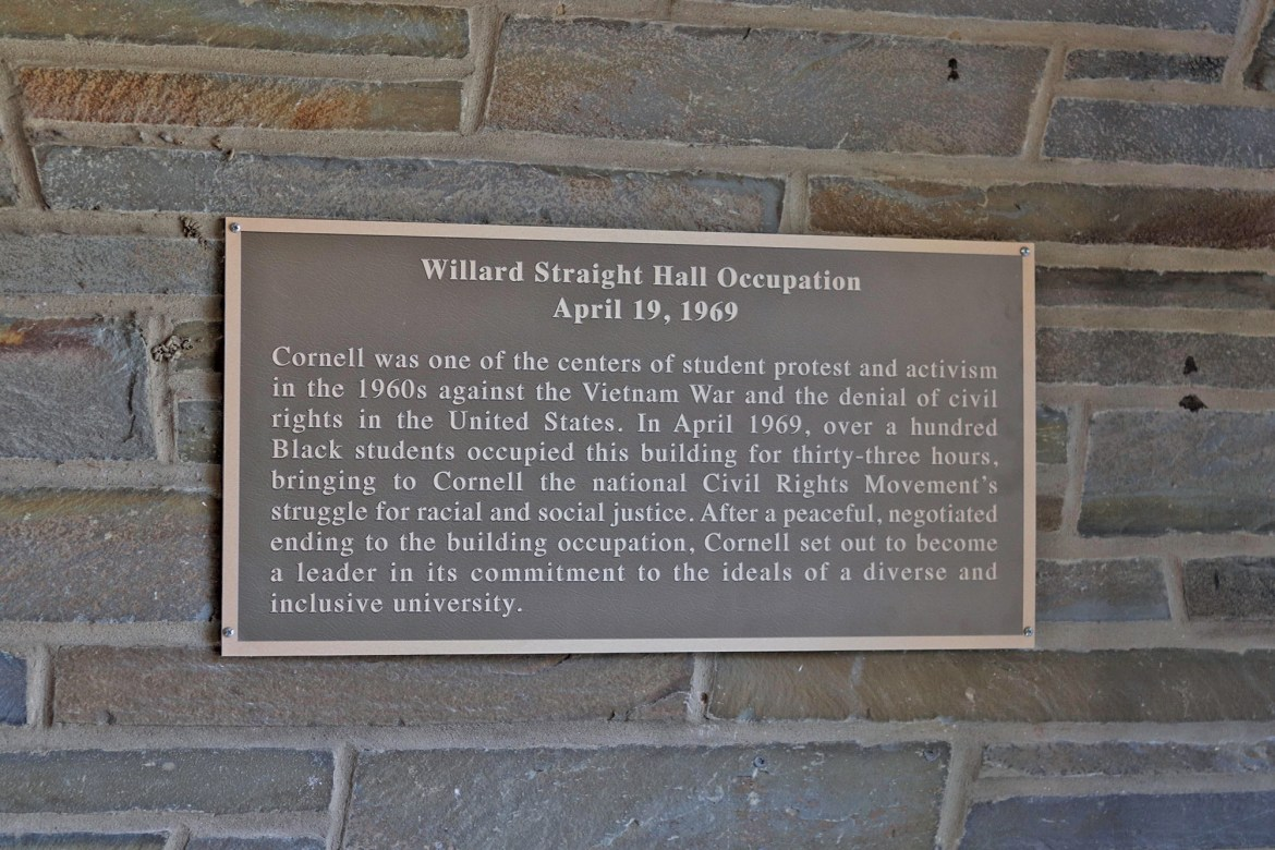 This year marked the 50th anniversary of the Willard Straight Hall Takeover that ended on April 19, 1969.  Now, the hall will be marked with a permanent plaque.