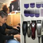 Pictured left, Kambria Lockett '21 styles a clients hair in her room on West Campus. Pictured right, Matthew Dressa's collection of styling tools.