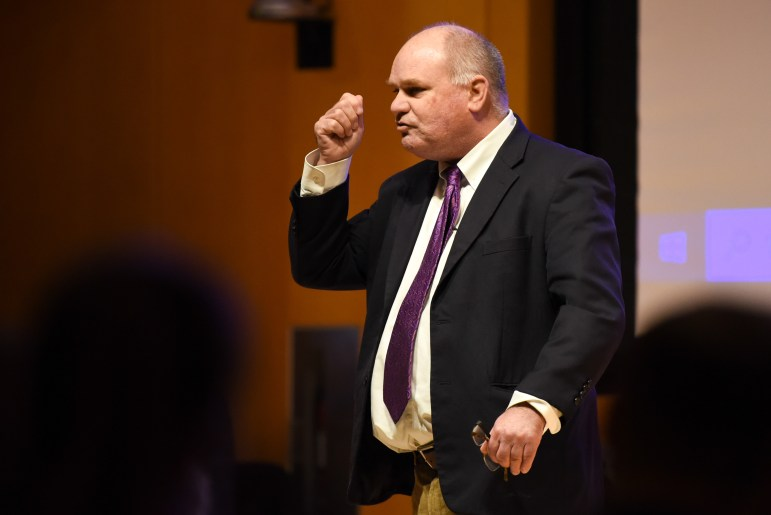 Prof. Samuel Nelson, industrial and labor relations, argues in favor of not preserving any subject at the Apocalypse Debate at Klarman Hall on November 5th, 2019. (Boris Tsang/Sun Photography Editor)