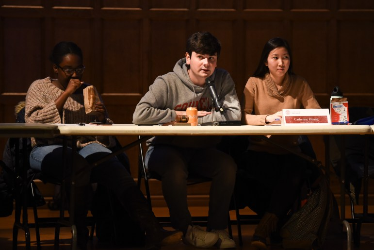 President Joseph Anderson speaks during Thursday's Student Assembly meeting, during which the S.A. passed a resolution changing the undergraduate student voting procedure from a verbal declaration to an electronic ballot. (Boris Tsang/Sun Photography Editor)