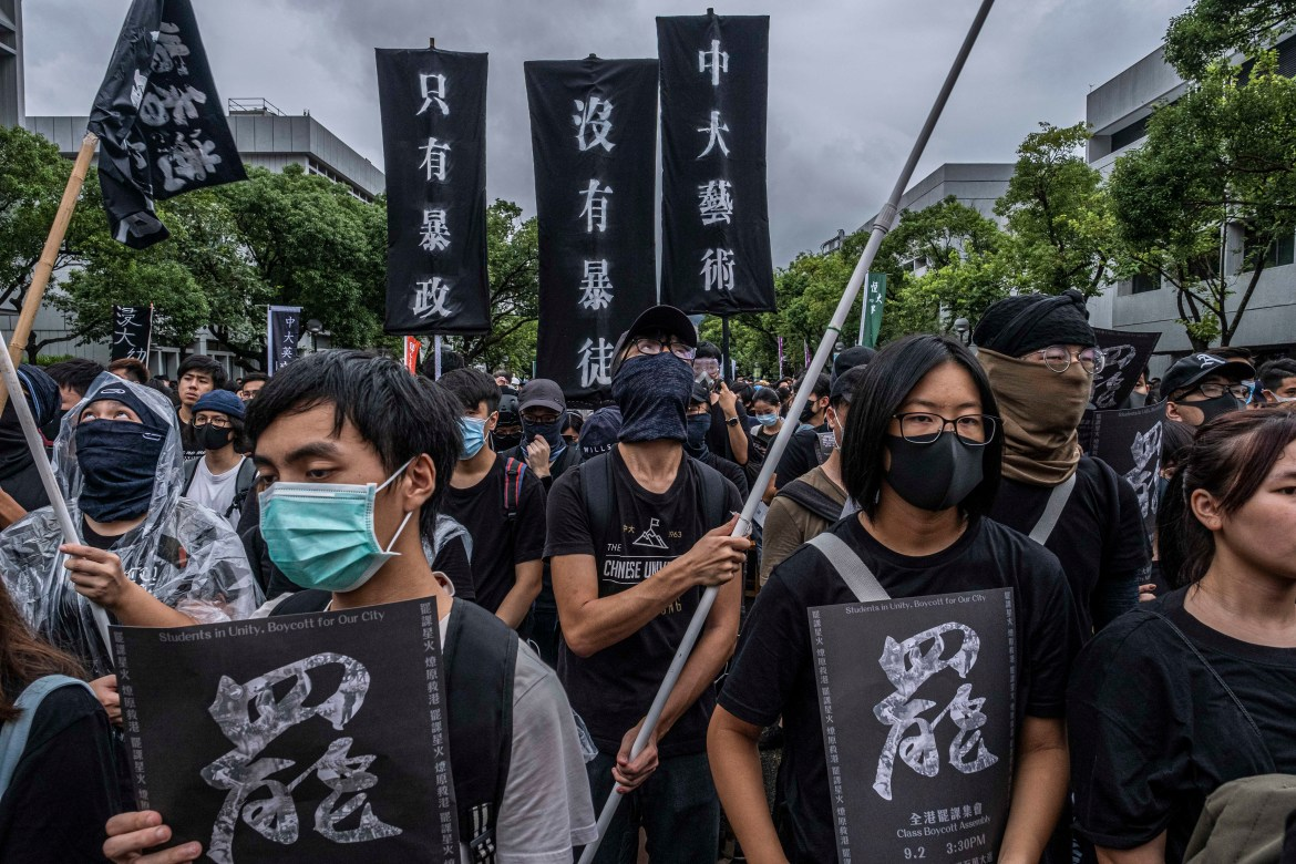 A demonstration at the Chinese University of Hong Kong in the Sha Tin district of Hong Kong, Sept 2, 2019. During hourslong standoffs with students this week, the Hong Kong police broke an unspoken rule to keep off campuses.