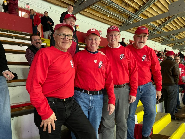 """Gary Thompson '81, second from right, was the leader of the band and is now the leader of the """"Old Guys."""""""