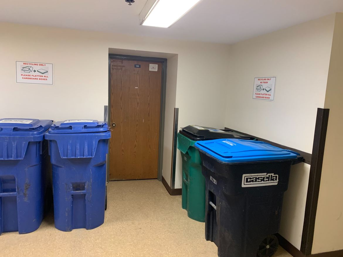 Trash bins at Cascadilla Hall.