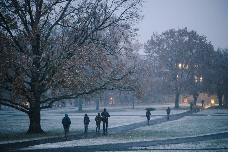 Ithaca received its first snowfall of the semester on Thursday, nearly two weeks earlier than the average first snowfall in Ithaca. (Michael Wenye Li/Sun Senior Photographer)