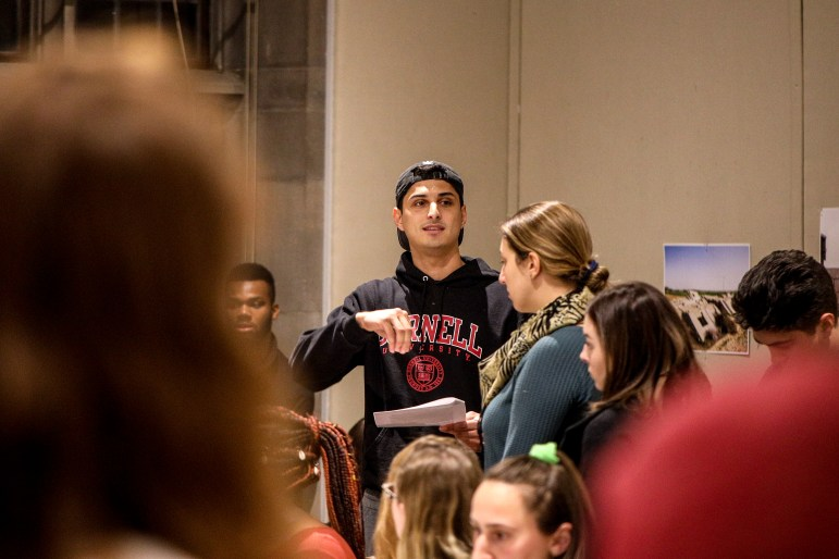 Francisco Gonzalez '20 speaks at the Panhellenic vote on boycotting frat mixers.
