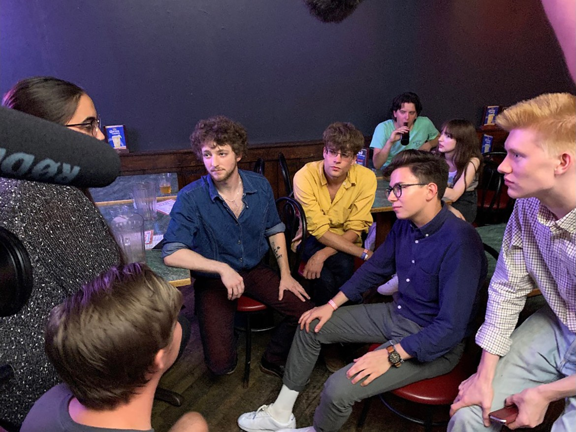 Elijah Emery '23 (pictured far right) called former U.S. Sen. Mike Gravel's short-lived presidential campaign a success for helping to push the Democratic primary's current candidates further to the left.