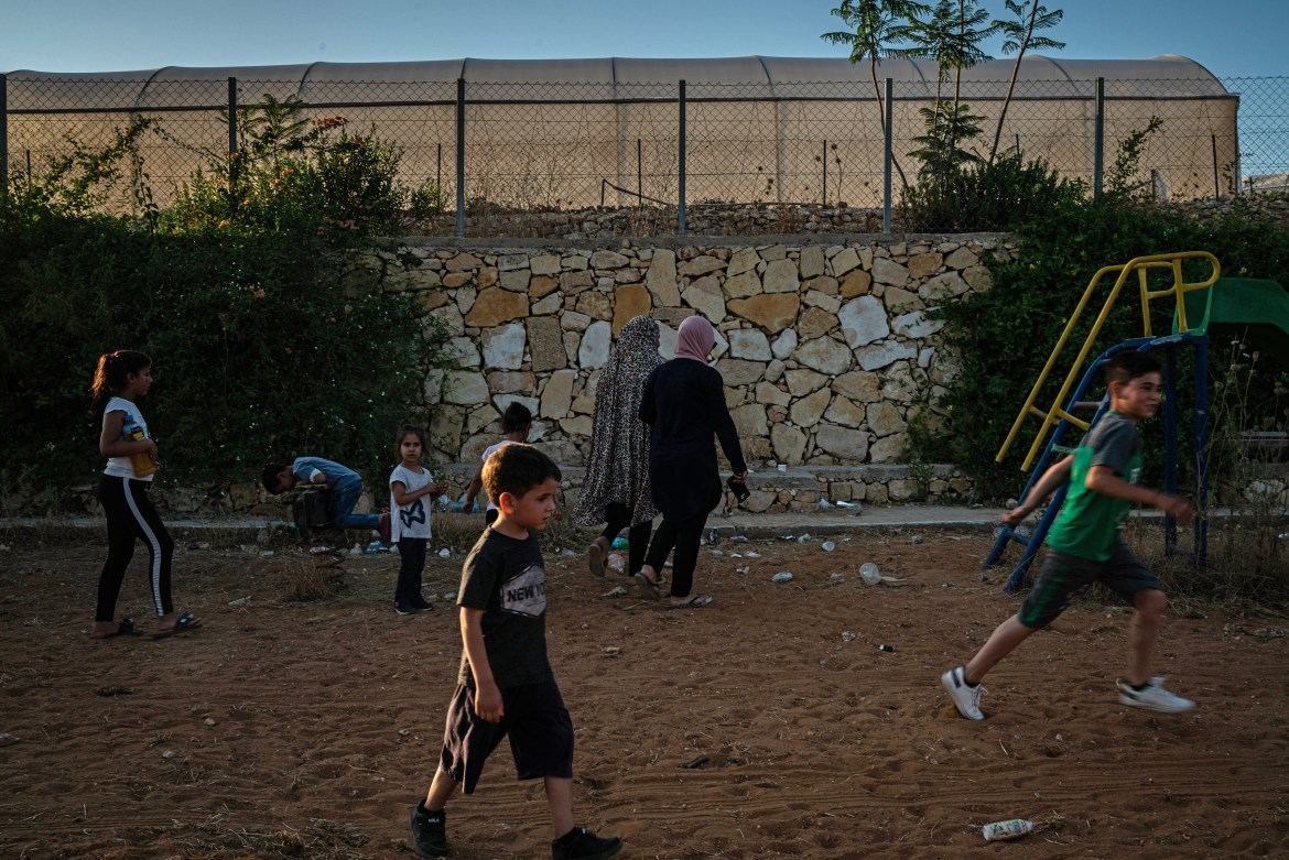 A playground on the spot where an Israeli barrier was removed in the village of Bilin in West Bank, June 19, 2019. A lull in protests appears to bolster the Trump administration's belief that economic growth will produce peace, but Palestinians say the calm is a symptom of despair. (Samar Hazboun/The New York Times)