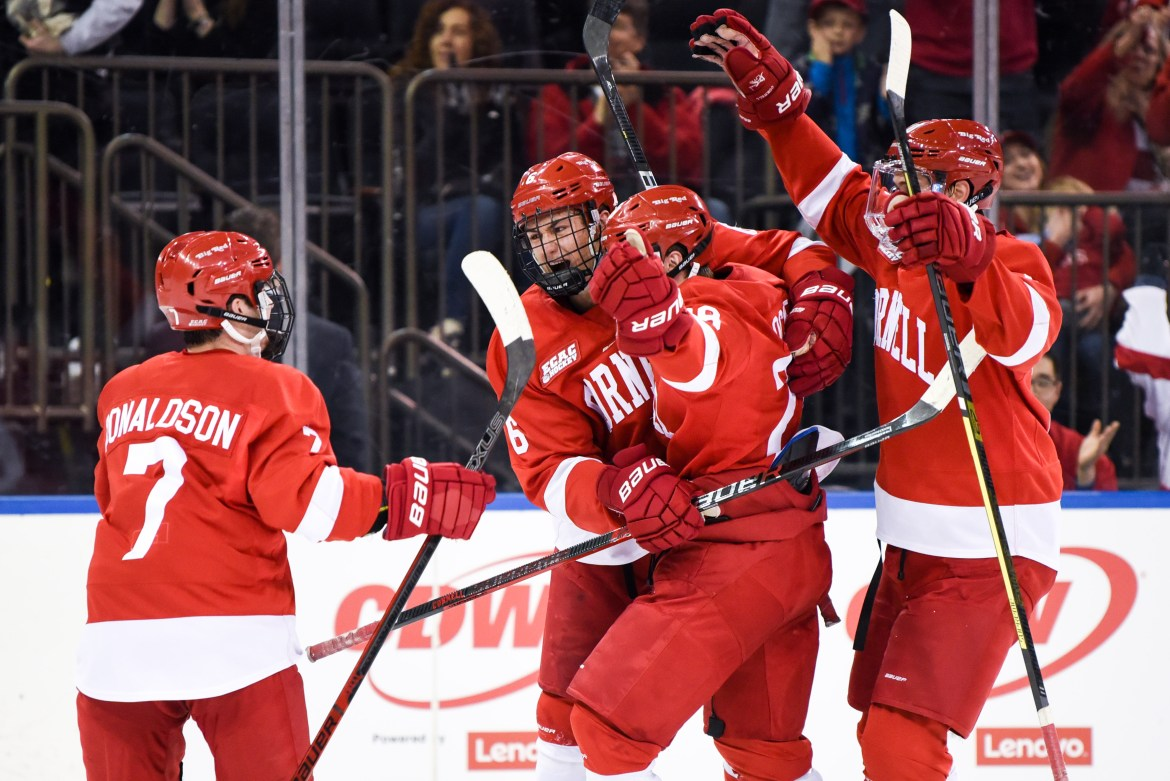 After a slow start, Cornell scored two goals in the second, which proved to be enough for team's ninth straight win.