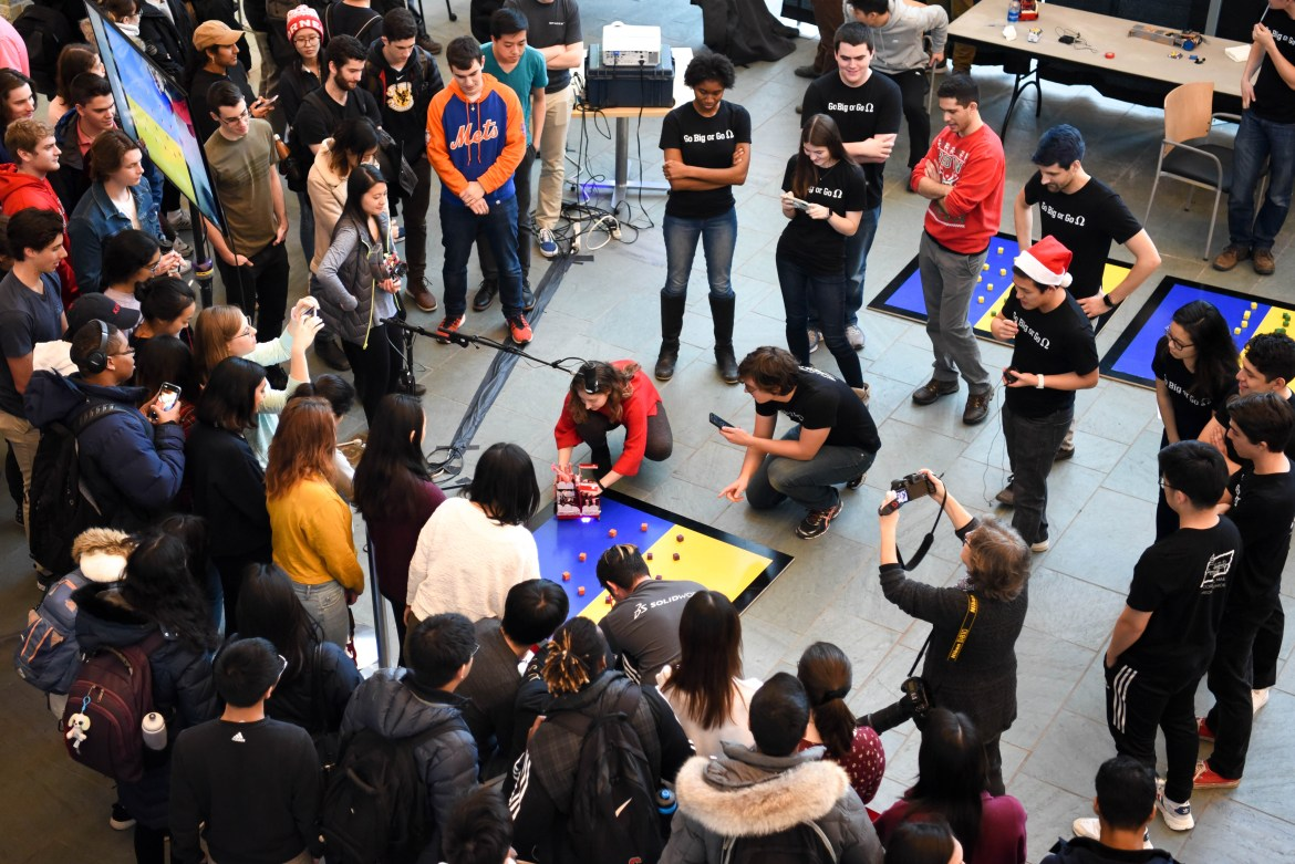 Final round of the Cube Crazy Robots competition at Robotics Day at Duffield Hall on December 10th, 2019.