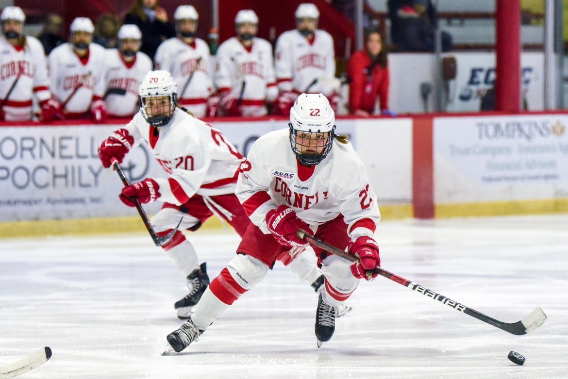 Junior forward Maddie Mills scored two of the Red's five goals on Saturday.