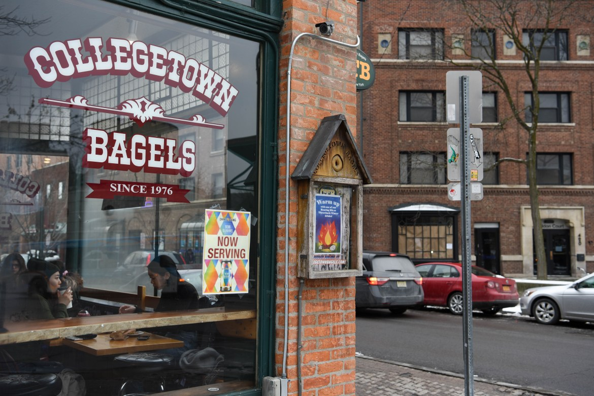 The new Collegetown Bagels location at Sheldon Court, right, which is just across the street from the current location, left, on College Avenue, on January 19th, 2020. (Boris Tsang/Sun Photography Editor)