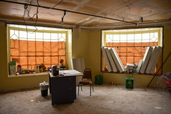 Renovations for the new Collegetown Bagels location at Sheldon Court on Jan. 19.