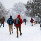 Bundled in coats, students  trek through central campus amidst confusion about whether or not classes were canceled on Feb. 7.