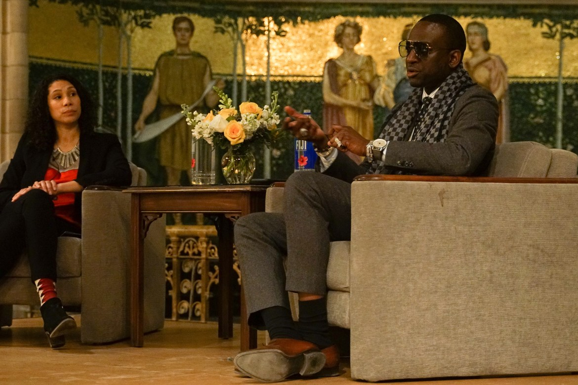 Yusef Salaam, one of the Exonerated Five, speaks to Cornell students in Sage Chapel with Prof. Anna Haskins, sociology, moderating the conversation.