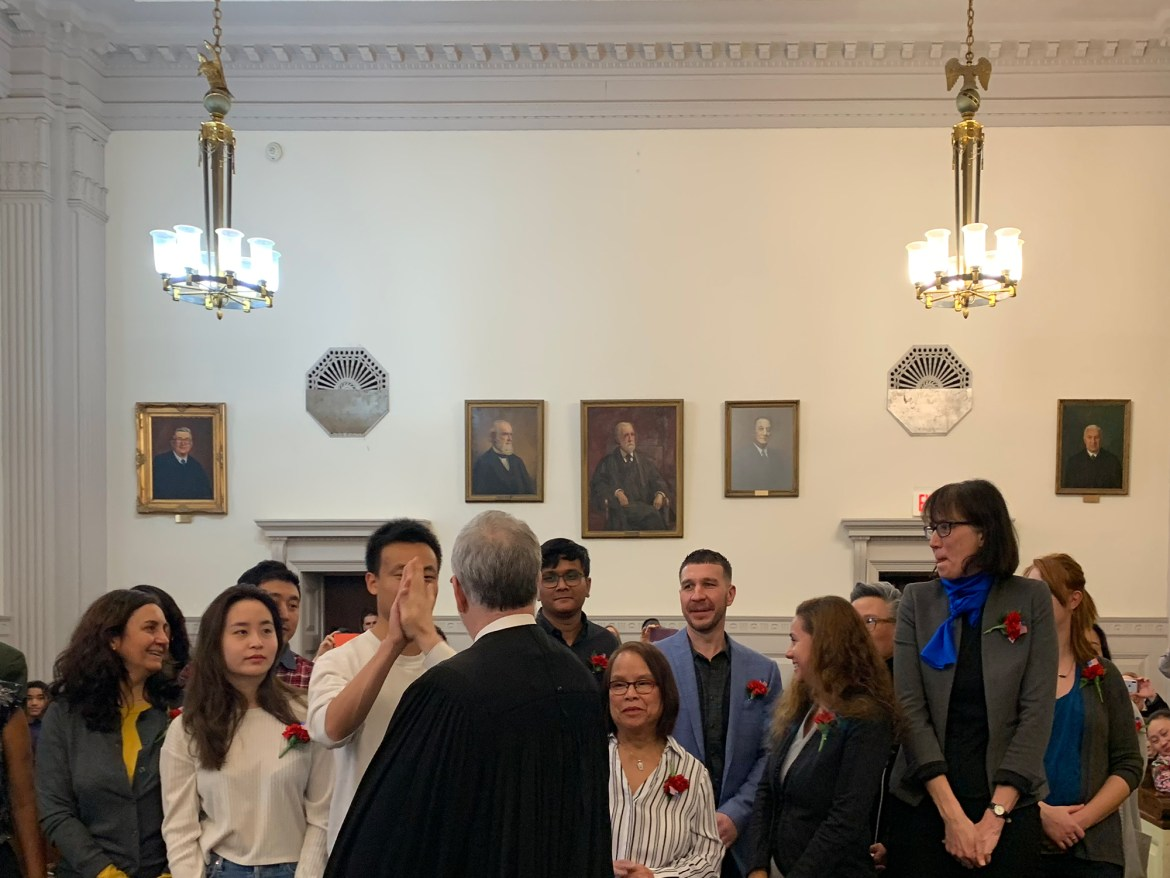 In the first naturalization ceremony to take place in Tompkins County, 35 new citizens pledged their allegiance to the U.S..