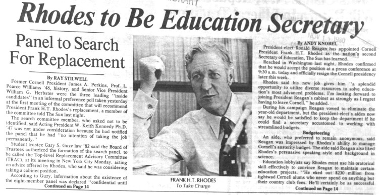 According to a Nov. 14, 1980 Sun article, Rhodes was initially tapped to serve as Secretary for the Department of Education under a newly elected President Ronald Reagan.