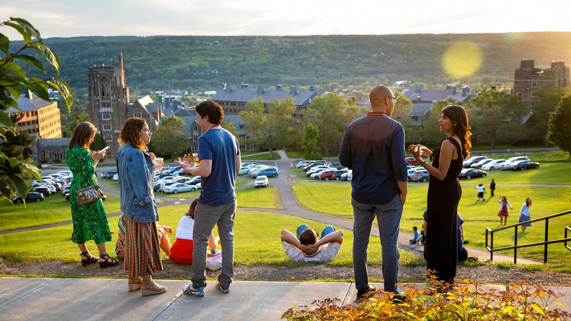 Alumni reconnect with each other while overlooking Libe Slope during Reunion 2019.
