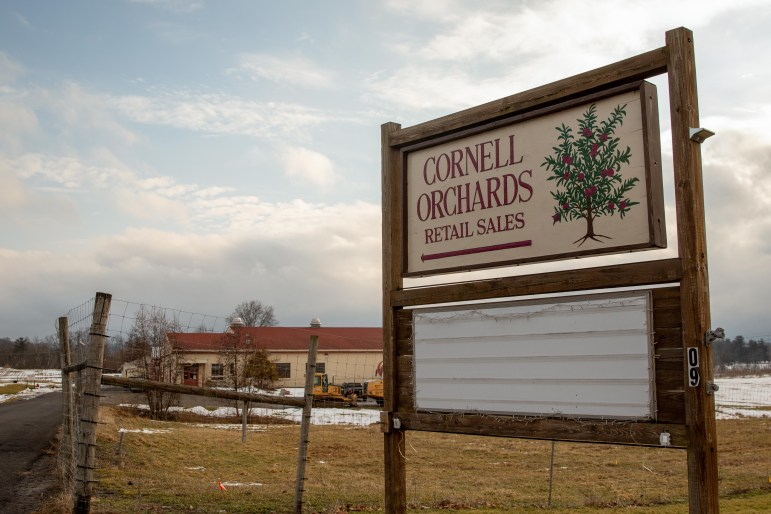The Cornell Orchards' event board stands empty on Wednesday. Citing financial concerns, Cornell Orchards closed its popular retail store on Jan. 31. (Hannah Rosenberg/Sun Assistant Photography Editor)