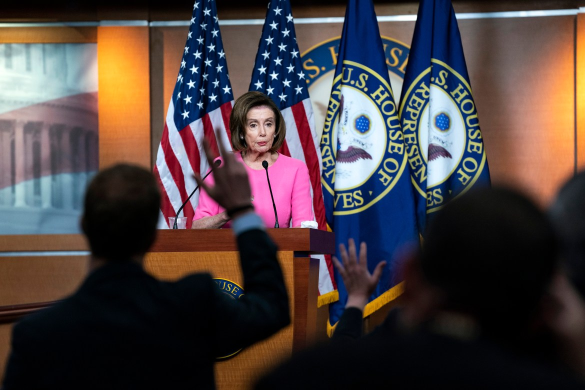 Shortly after the passage of the $2 trillion economic stimulus bill, House Speaker Nancy Pelosi (D-Calif.) answers questions from the press.