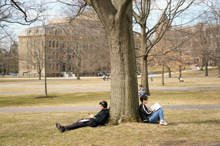 Students enjoyed the warm weather on Monday before the semester came to an abrupt halt.