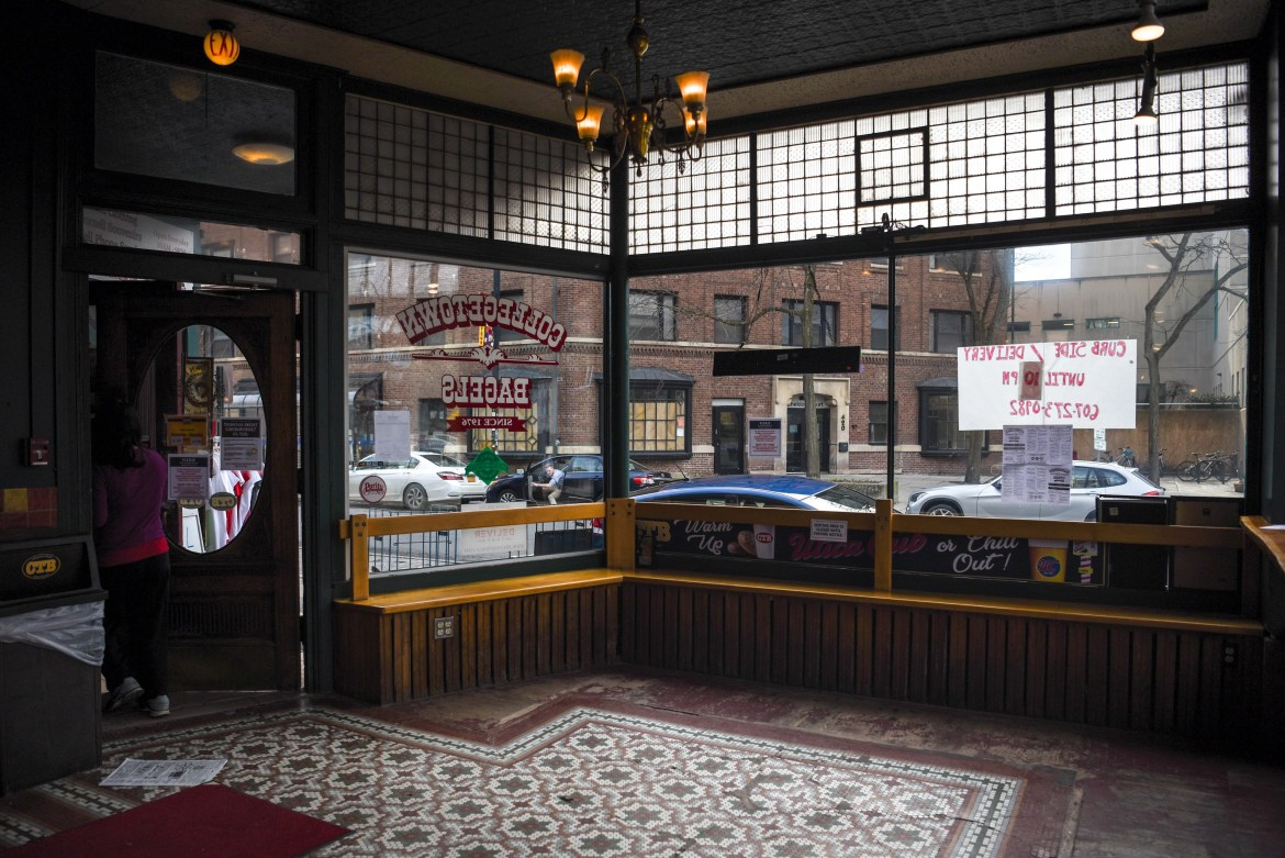 Collegetown Bagels was empty on March 20 after dine-in operations were suspended.