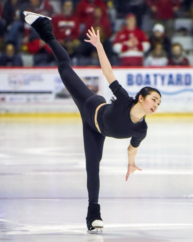 On Saturday, Karen Chen '23 dazzles the crowd during her intermission performance at the men's hockey game against St. Lawrence. (Boris Tsang/Sun Photography Editor)