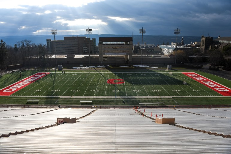 An empty Schoellkopf Field on March 17, 2020. Plans for a commencement ceremony are still in the air, as the COVID-19 pandemic develops.