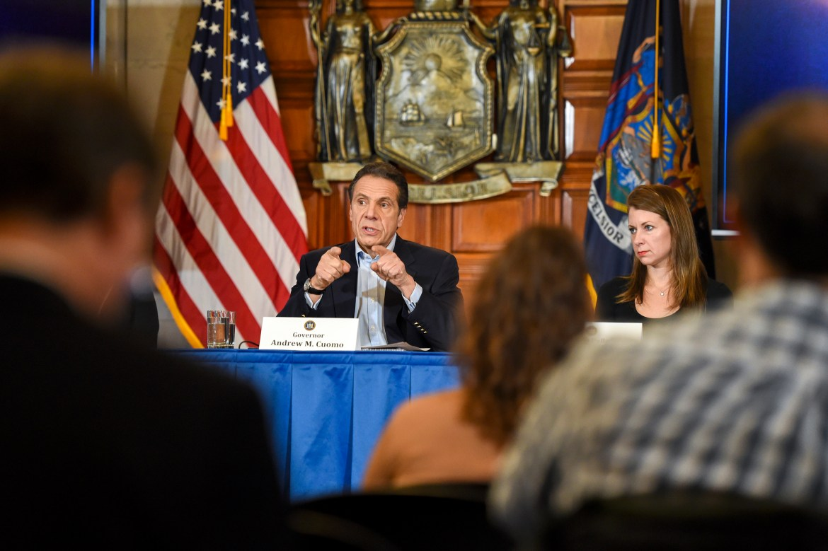 New York Gov. Andrew Cuomo delivers an update on the coronavirus in New York, at the state Capitol in Albany on March 7.