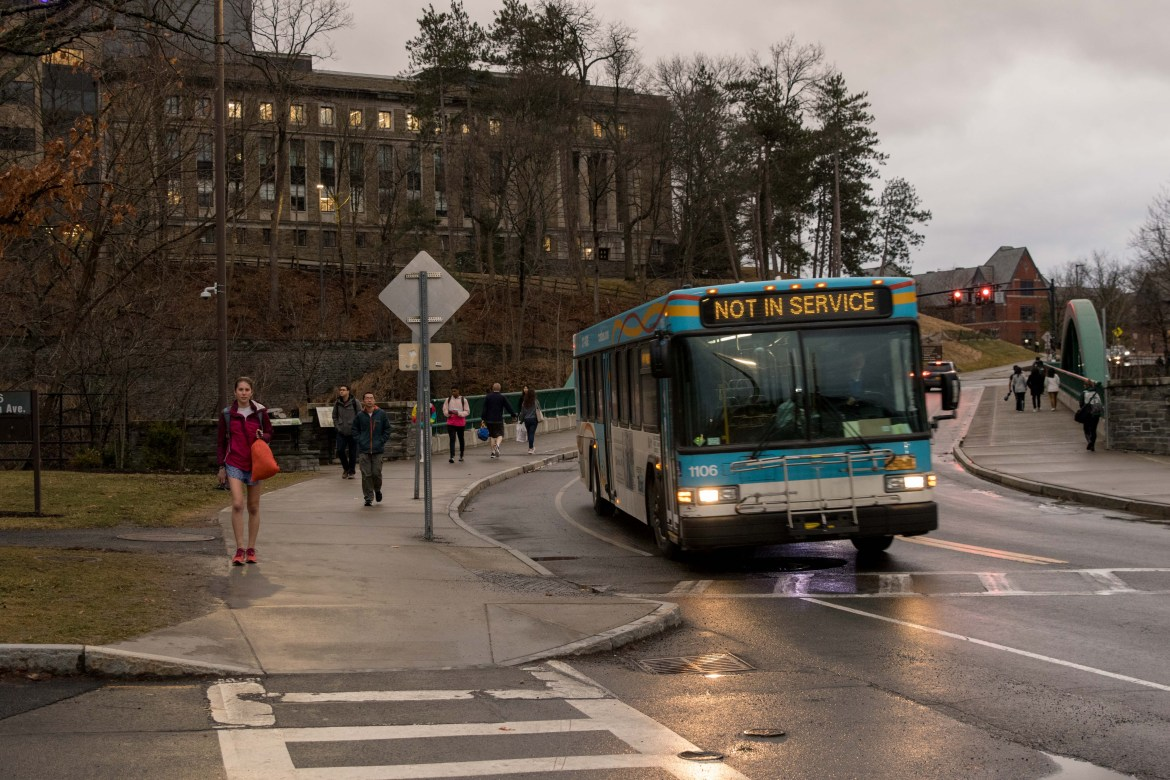 A TCAT in Ithaca not in service following announcement of Cornell class cancellation.