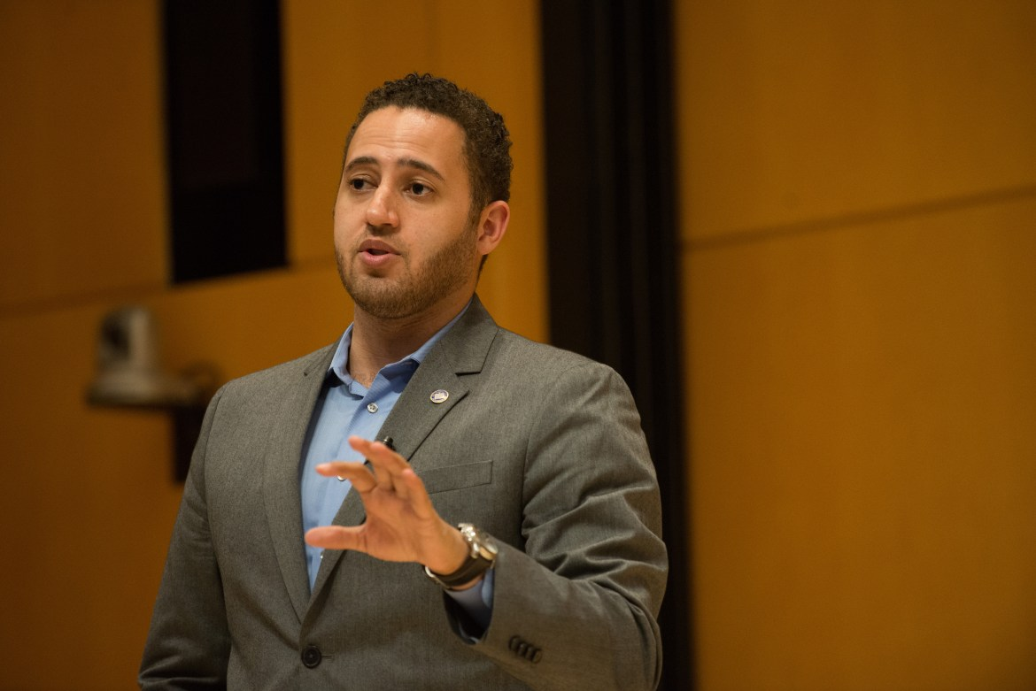 Ithaca mayor Svante Myrick advocated for Ithaca's Green New Deal, during a talk on Cornell's Campus.
