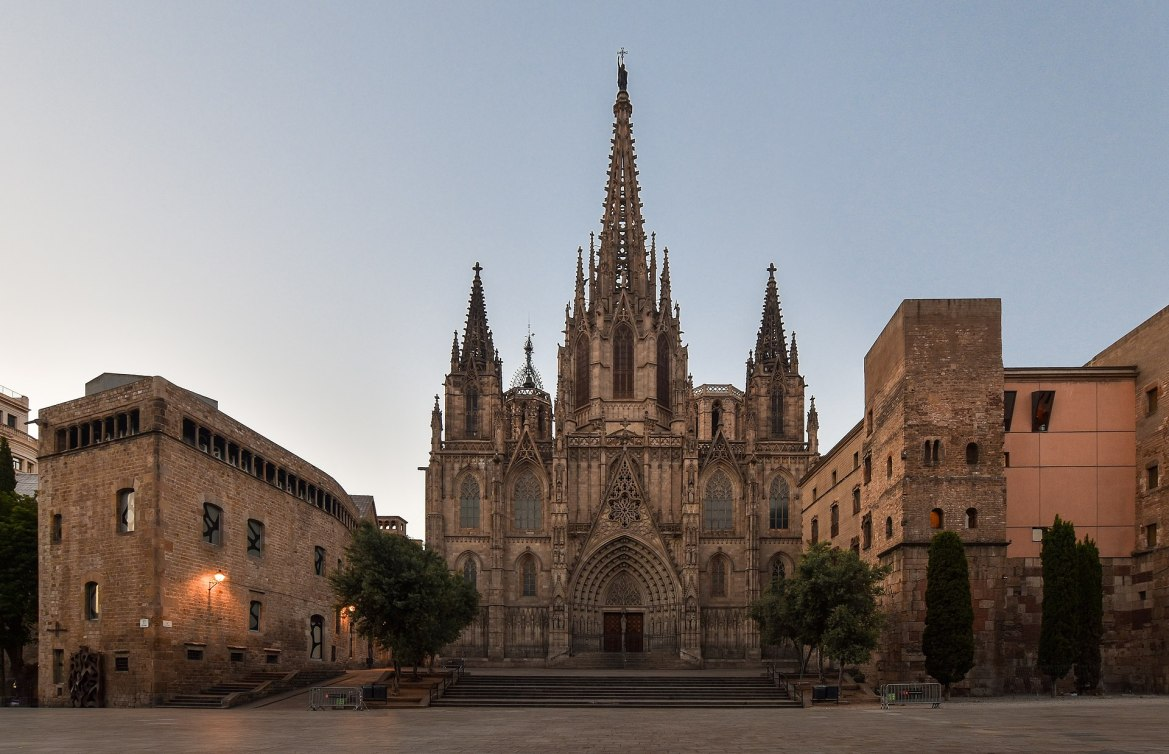 Cathedral of Barcelona in Spain pictured at dawn above.