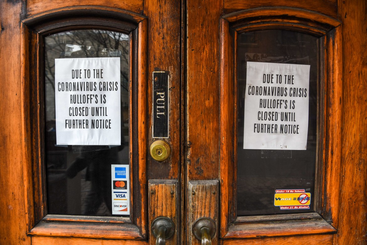 Rulloff's Restaurant on March 19, 2020. New York State ordered restaurants to cease dine-in operations on March 16. (Boris Tsang / Sun Photography Editor)