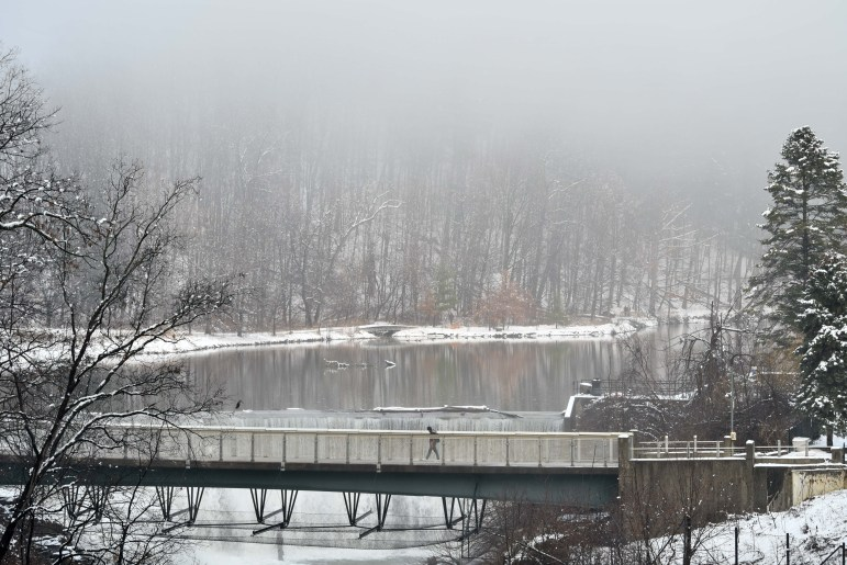 The Triphammer footbridge links North Campus with Central Campus and provides one of several scenic spots on Cornell's campus.
