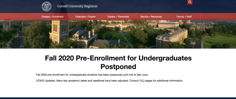 A screenshot of Cornell's web page regarding pre-enrollment for the fall 2020 semester.