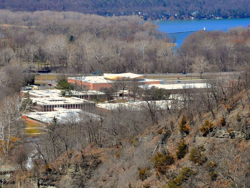 Ithaca High School, photographed above, is closed along with the rest of Tompkins and surrounding counties, leaving seniors to find their own ways to commemorate graduating.