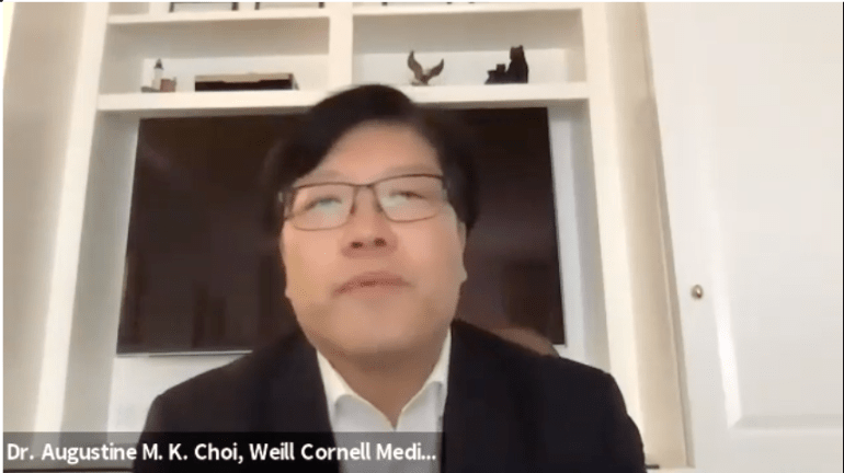 """Dr. Augustine M.K. Choi joined Maloney in a Zoom call to introduce the """"fabulous"""" bill and offer his support."""