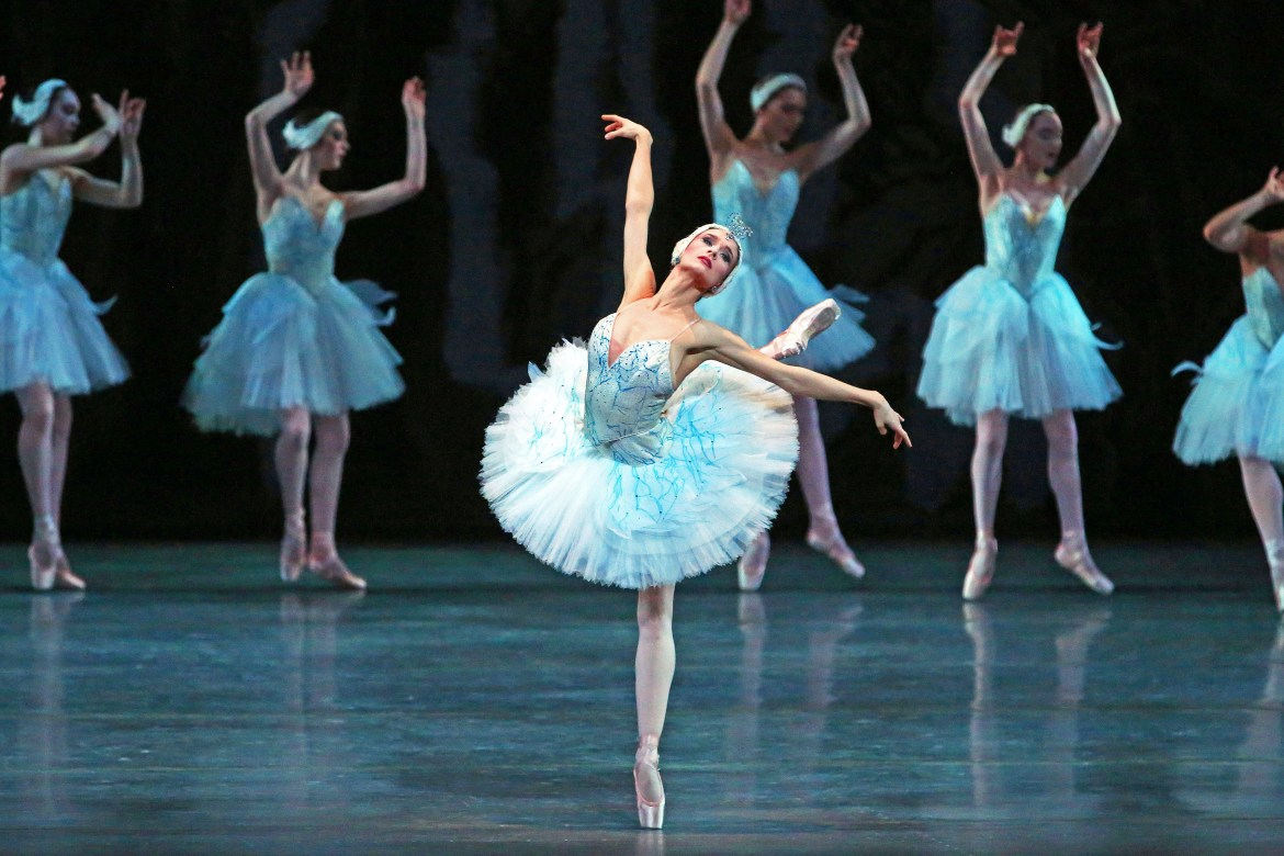 """Lauren Lovette in her debut of Odette-Odile in """"Swan Lake"""" at the David H. Koch Theater in New York on Feb. 21, 2020. (Andrea Mohin/The New York Times)"""