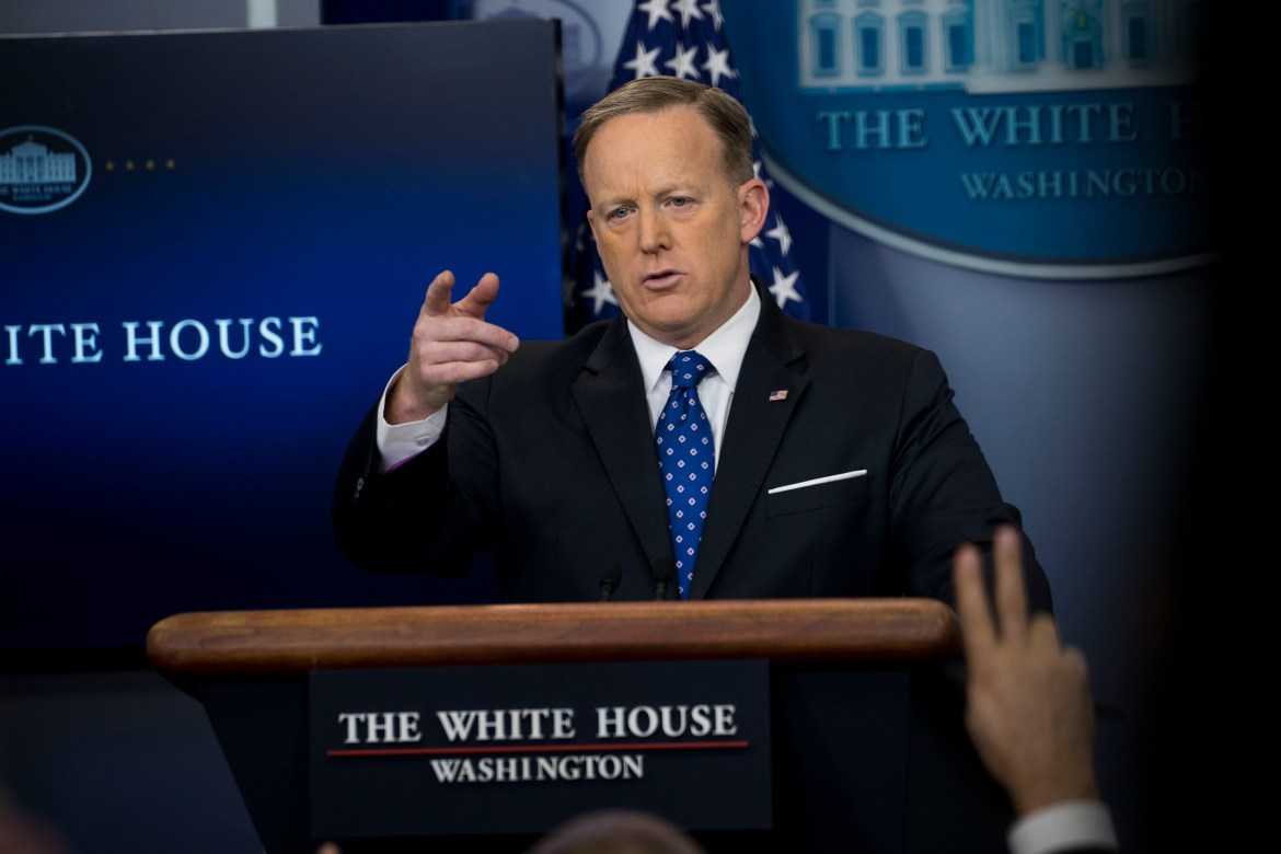 White House Press Secretary Sean Spicer speaks with reporters during his daily briefing at the White House in Washington, March 22, 2017.