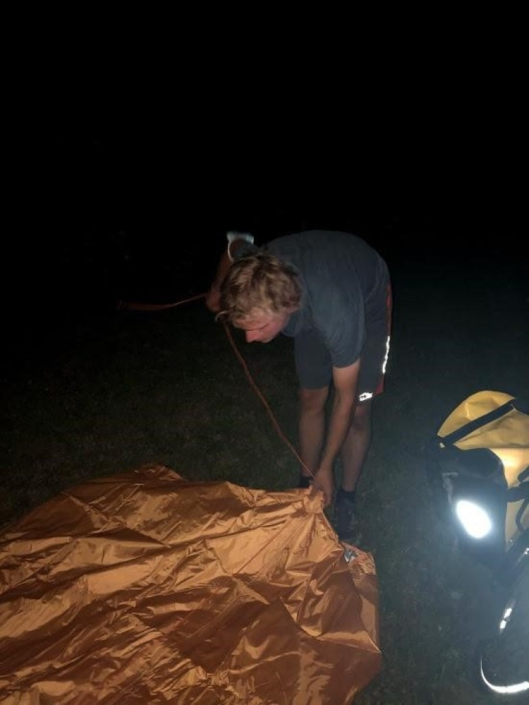 Setting up camp at the Martens Farm after a late arrival (Jack Waxman, Staff Writer)