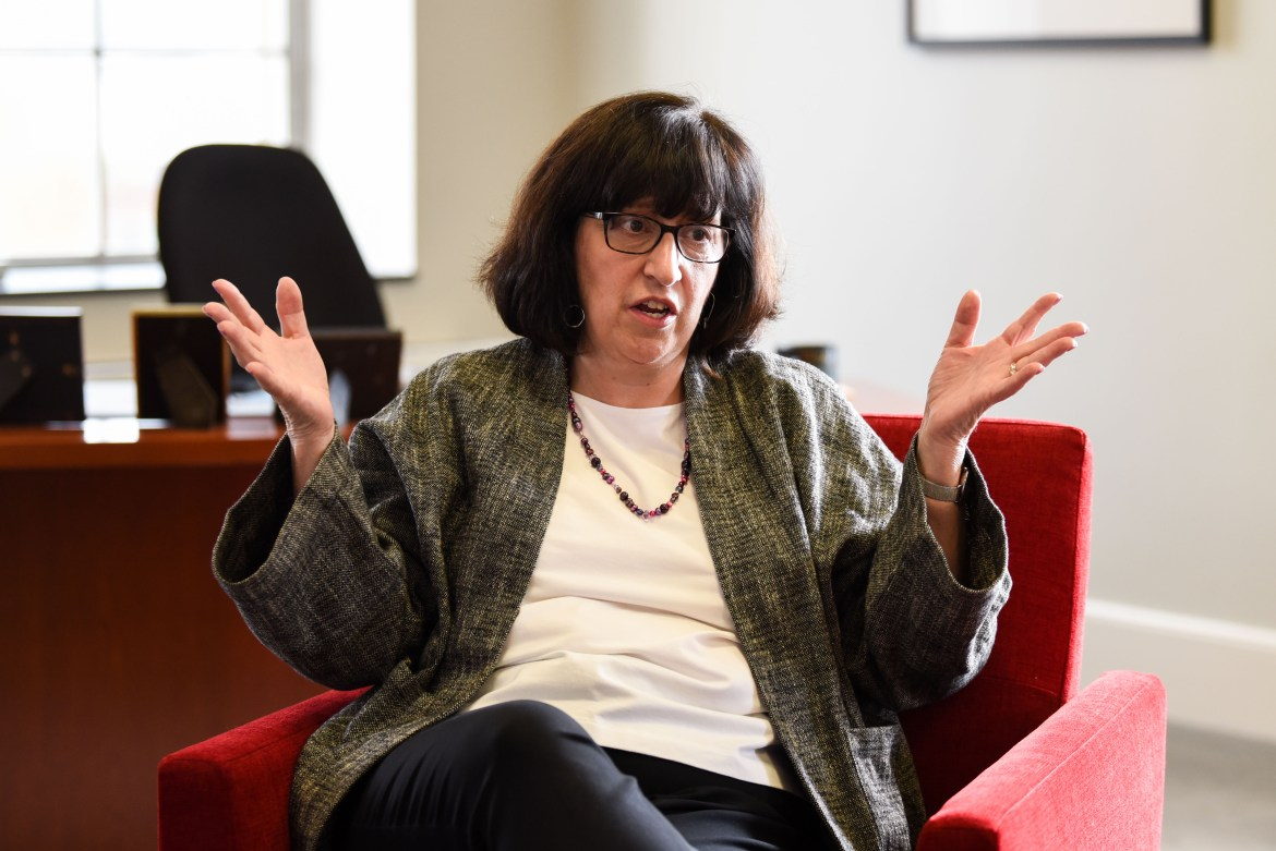 President Martha E. Pollack at her office in Day Hall in May 2019. The Sun spoke with Cornell administrators about the fall reopening plan and anti-racism initiatives.